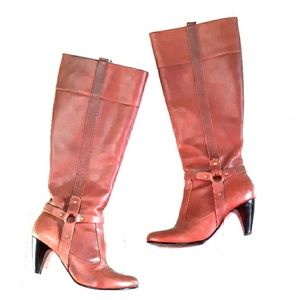 Tall leather brown heel boots sz 6.5